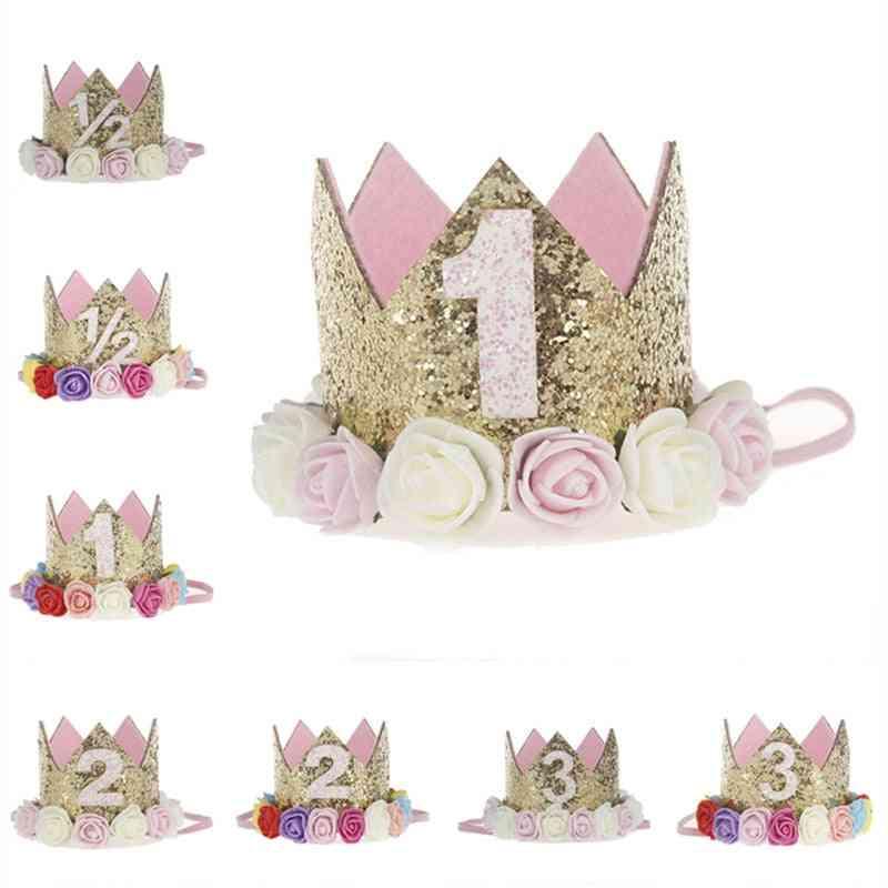 Artificial Delicate, Mini Felt Glitter Crown With Flower Headband