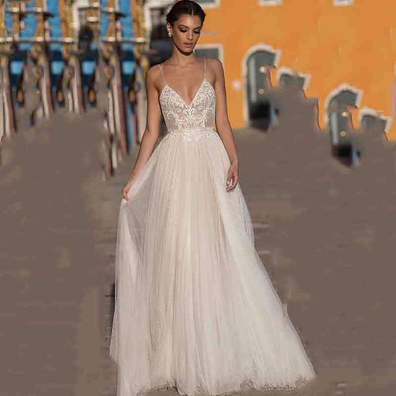 Backless Spaghetti Straps, V-neck Wedding Gowns Dress