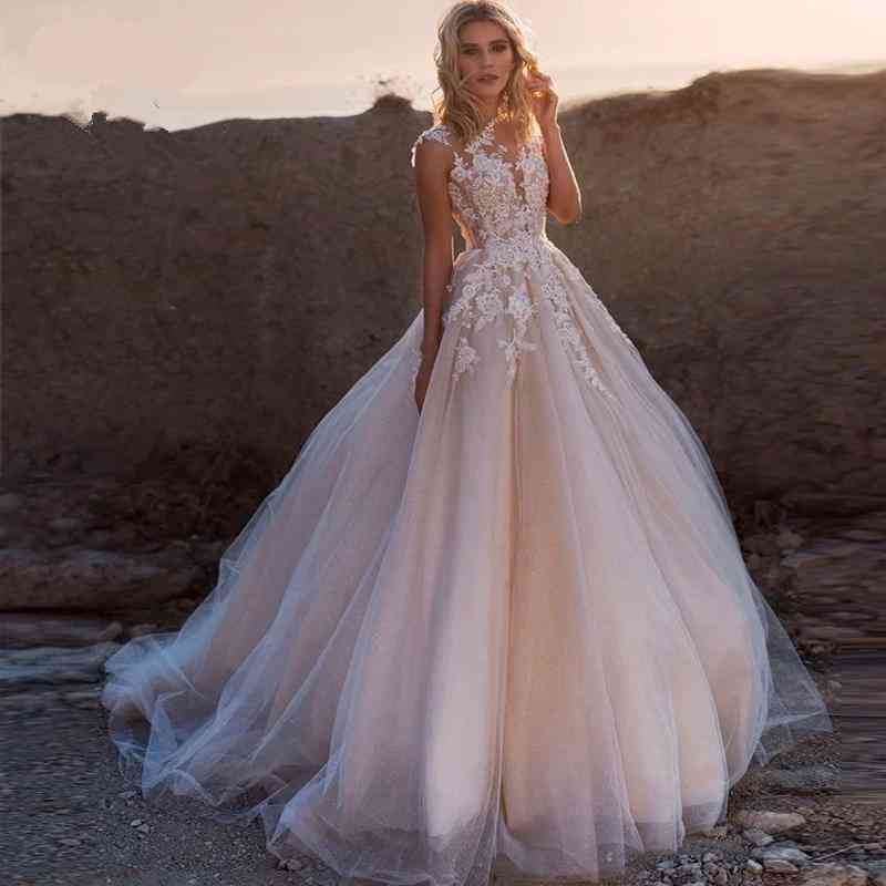 Scoop Lace Applique, A-line Sleeveless Tulle, Gowns Dresses