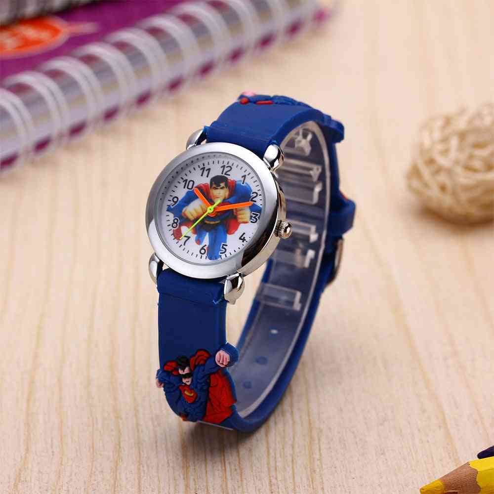Kids Cartoon Watch For,, 3d Pattern Silicone Strap, Acrylic Dial,'s Quartz Watches
