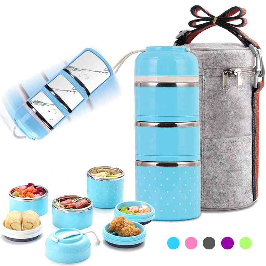 Three-layer Leak-proof Lunch Box, Outdoor Portable Food Storage Container, Stainless Steel Flask Set For School Kids