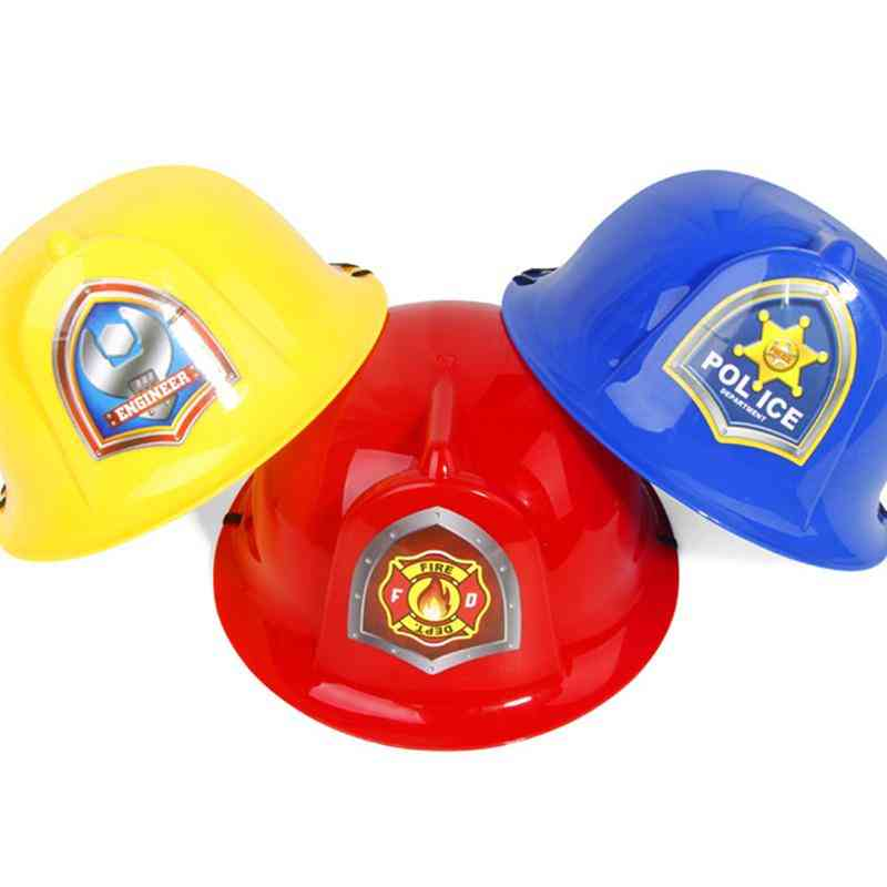 2pcs Simulation Fire Hats Kids Role-play Helmet Safety Fun Cosplay Prop