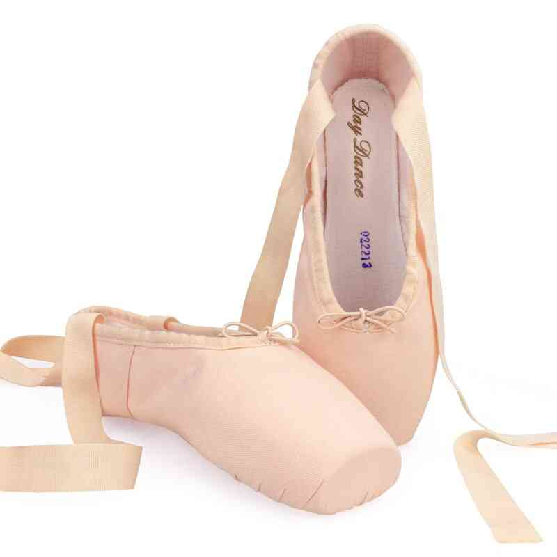 Canvas Ballet Pointe Shoes Women Ladies Professional With Silicone Toe Pads