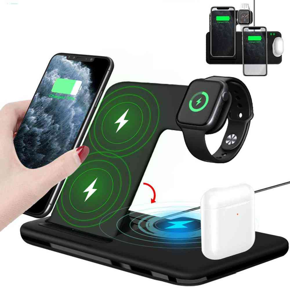 15w Qi Fast Wireless Charger Stand For Iphone 11 Xr X 8 Apple Watch Foldable Charging Dock Station
