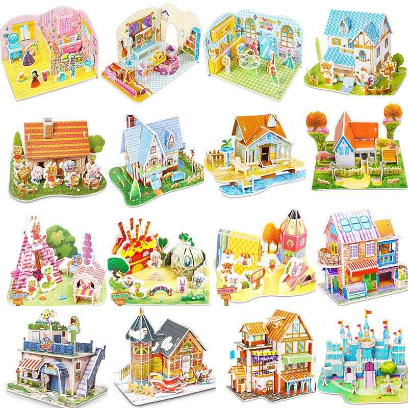Attractive Cartoon Castle 3d Puzzle Jigsaw, Educational For