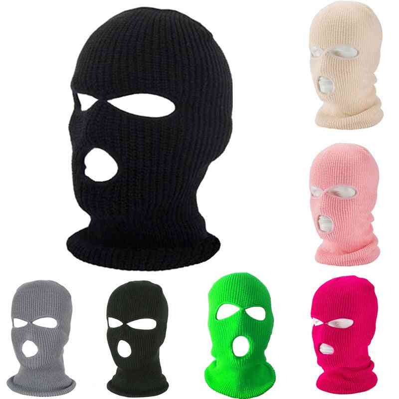 Knitted Face Cover, Winter Balaclava Full Mask For Winter, Outdoor Sports, Three Hole Hat
