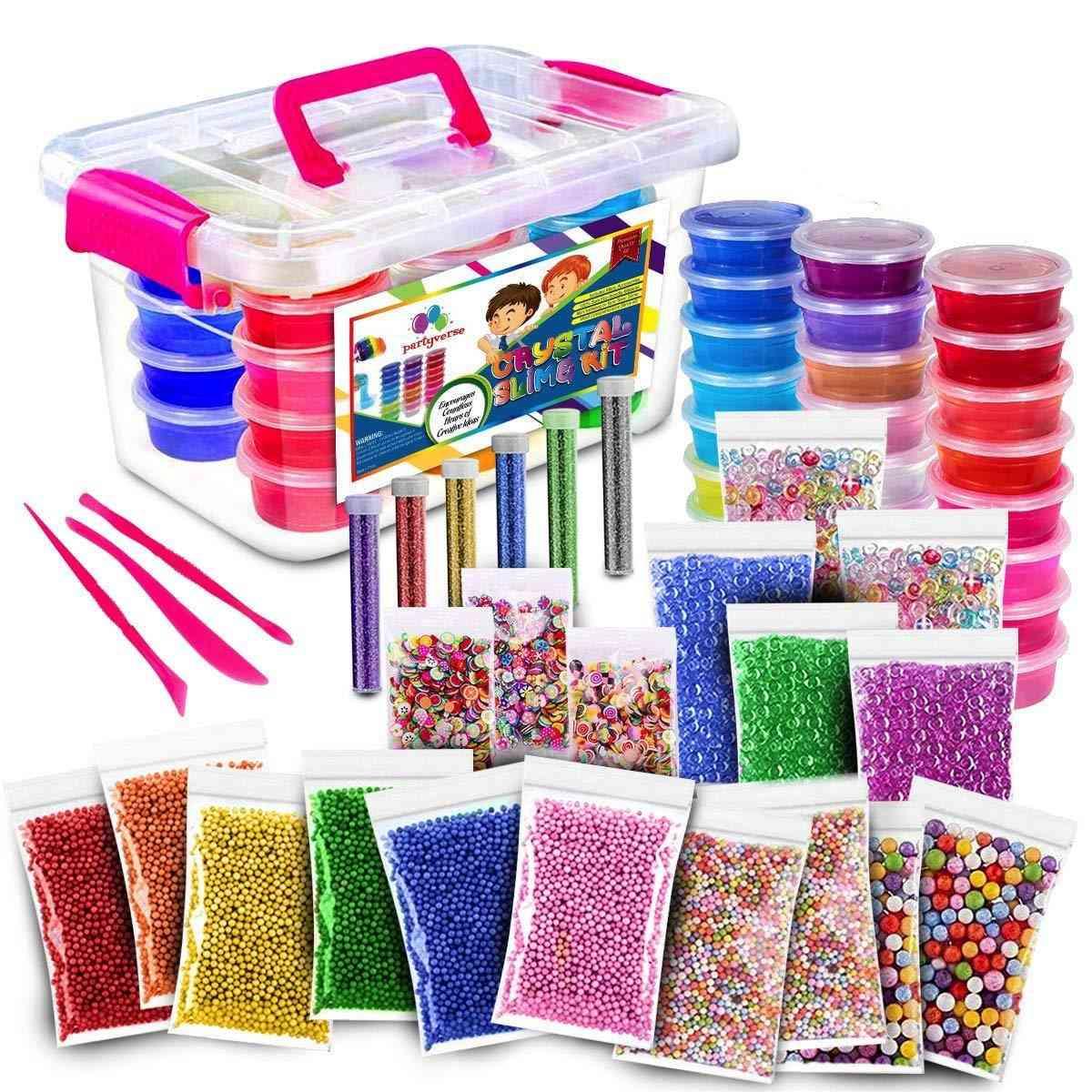 Fluffy Slime Kit 24 Color Slime Supplies For Kids Diy Kit