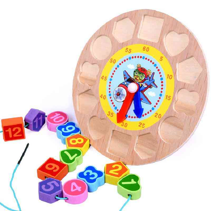 Wooden Calendar Teaching Aids Multifunctional Hanging's Clock Beaded Early Education Learning