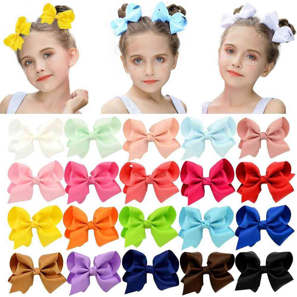 Colorful Solid Ribbon, Grosgrain Hair Bow With Clips