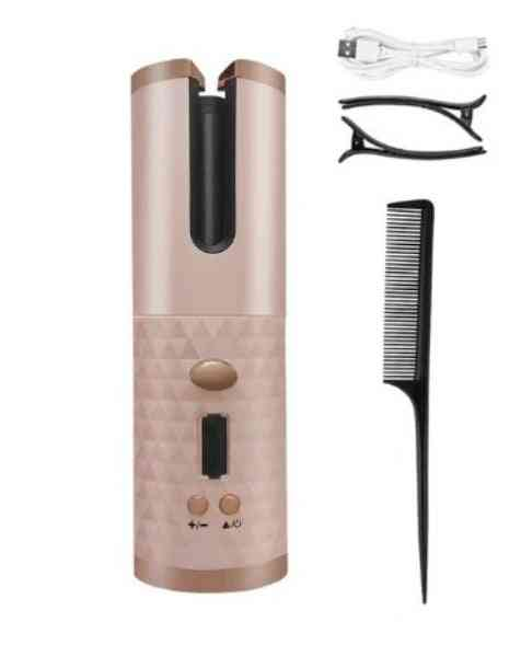 Usb Rechargeable- Automatic Hair Curler, Iron Waves With Lcd Display Stayer