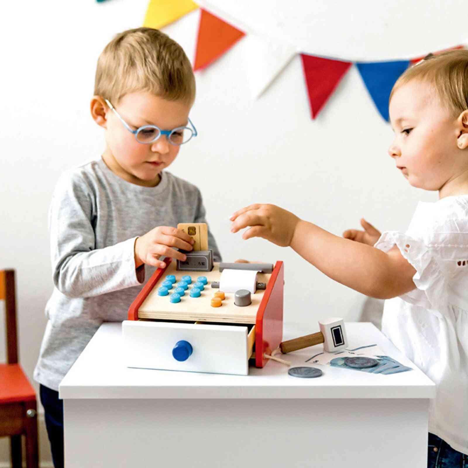 Wooden Cash Register, Pretend Supermarket Cashier Play, House Toy