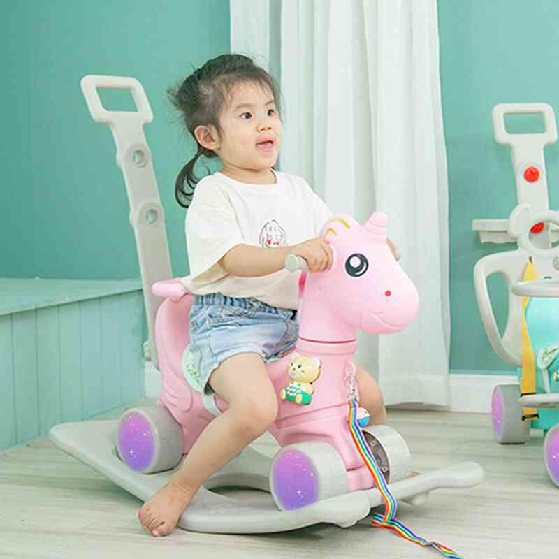 Children Cute Unicorn Flashing Wheel Pram Baby Music Multi-function Rocking Horse