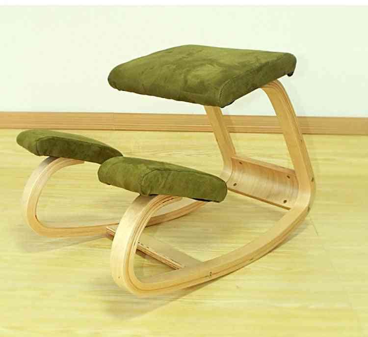 Ergonomic Kneeling Chair Stool Office Rocking Wooden Kneeling Computer Posture Correct Posture Anti-myopia