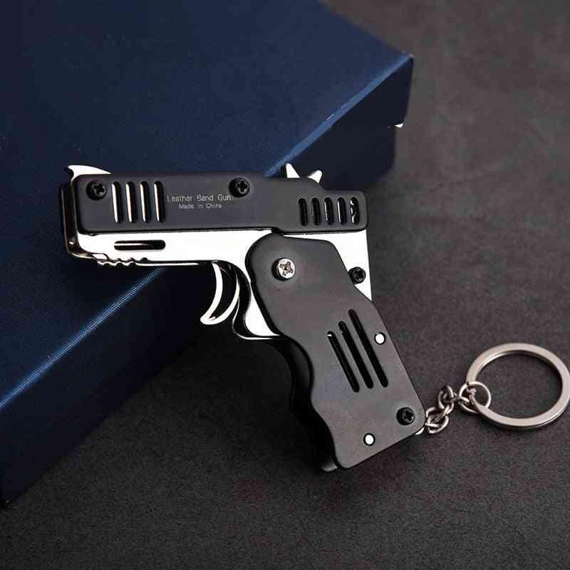 Mini Folding Outdoor Tools Key Chain Rubber Band Gun Toy