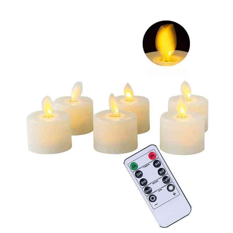 Remote / Not Remote Flameless Dancing Led Candles Warm Battery Operated Moving Wick Tea Light With Timer