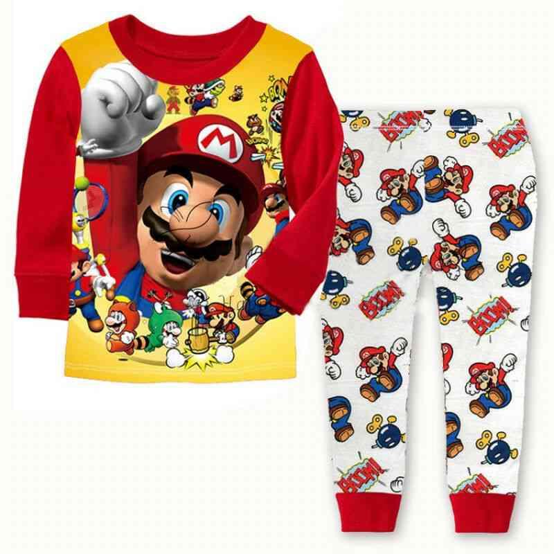 Cartoon Kids Toddler Super Mario Cotton Sleepwear Nightwear