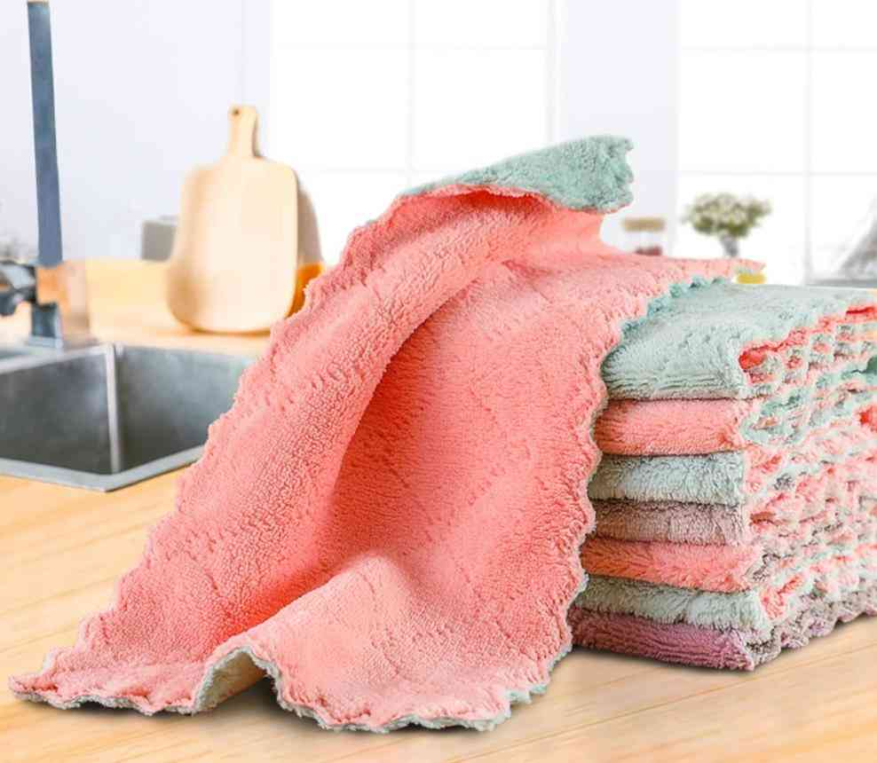 Double-layer Microfiber, Dish Cloth, Non-stick Oil Cleaning, Wiping Towel, Kitchen Tool