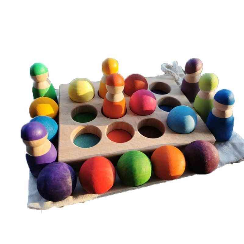 Wooden Color Sorting Wood Balls Rainbow & Pastel Sphere With Tray