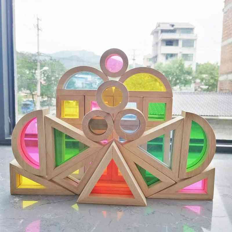 Montessori Wooden Sensory Rainbow Block ,creative Educational