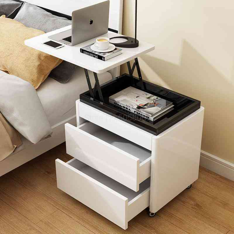 Multi-function Small Computer Desk, Lift Bedside Table, Storage Cabinet