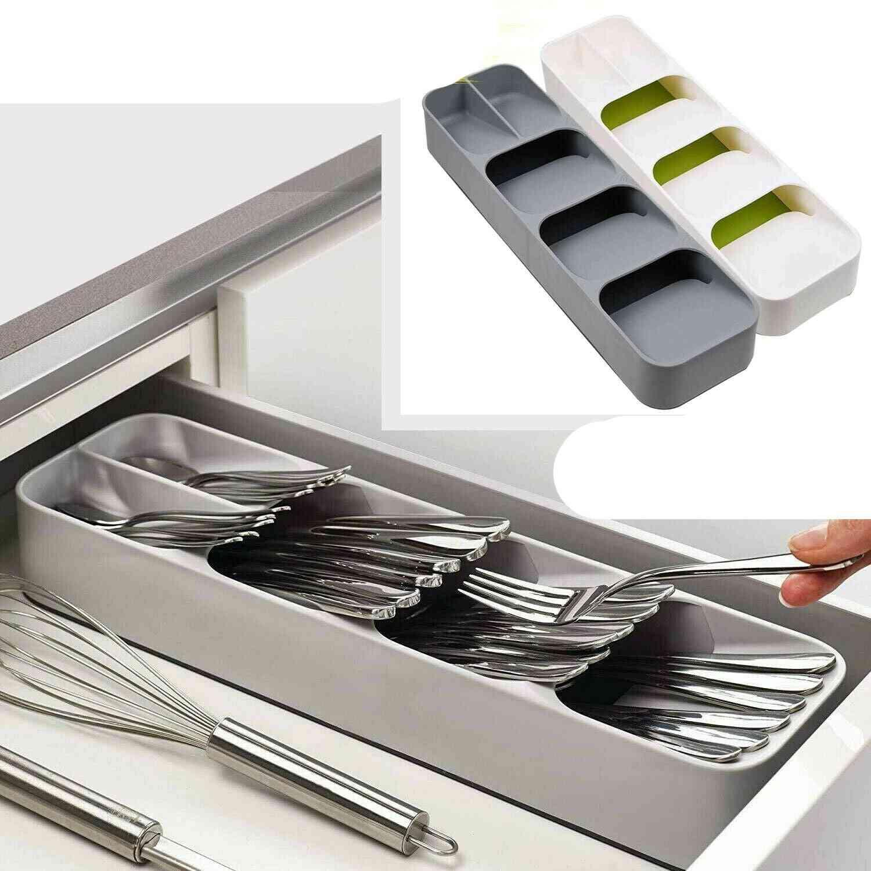 Compact Cutlery Spoon Utensil Tray, Drawer Organizer Insert Storage Store Box
