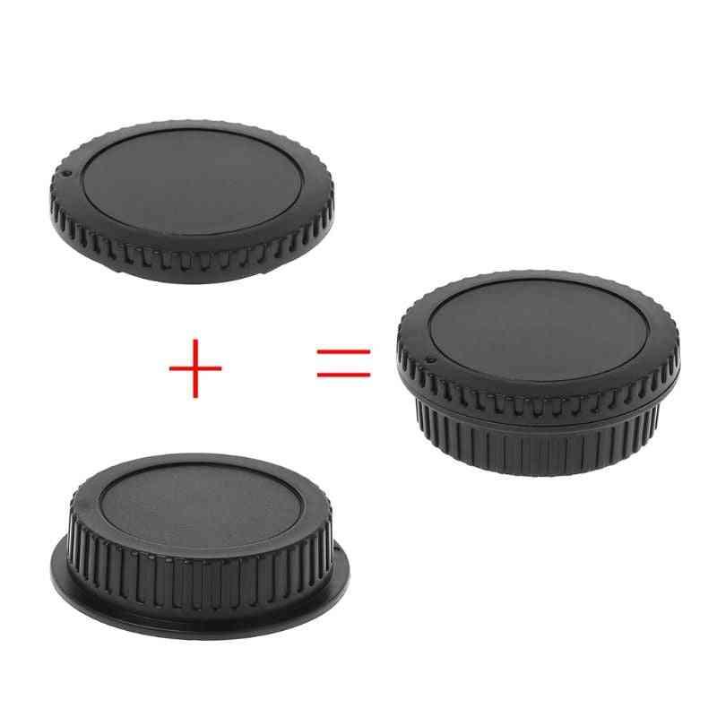 Rear Lens Body Cap Camera Cover Set, Dust Screw, Mount Protection, Plastic