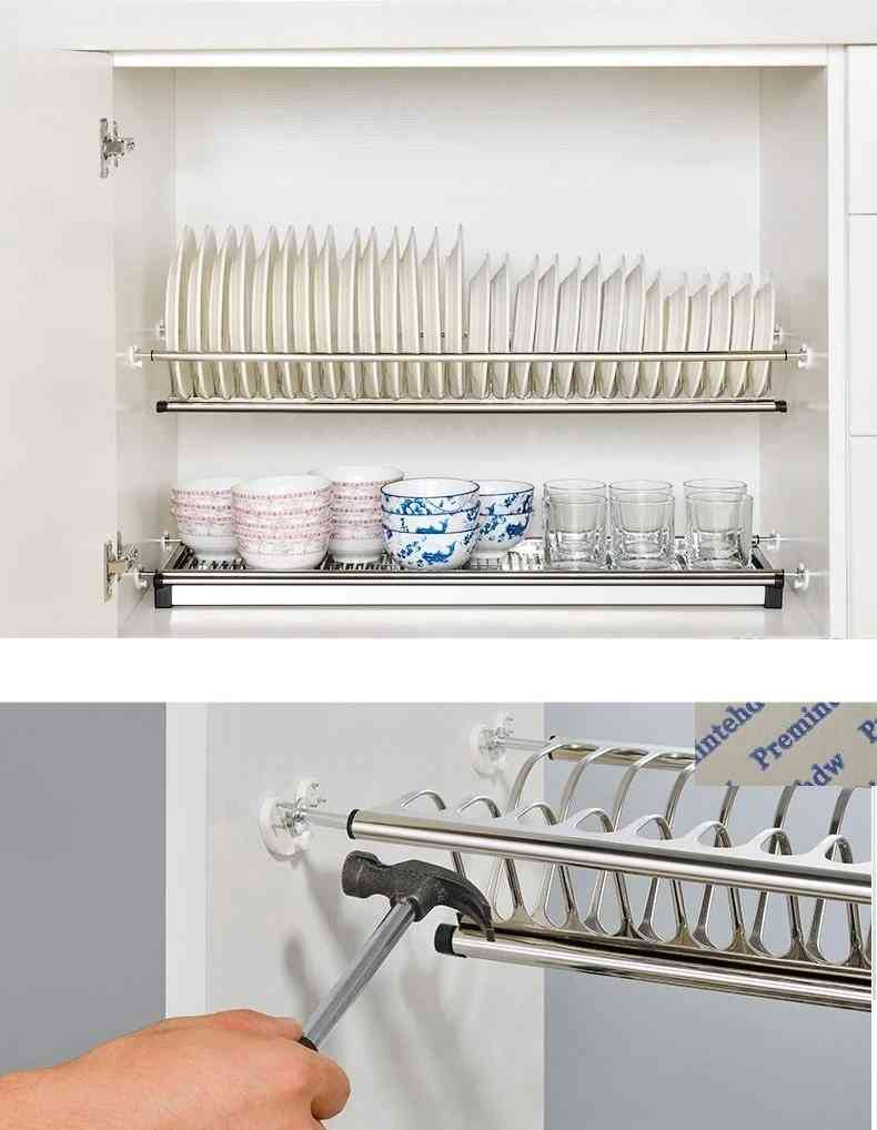 Stainless Steel- Cupboard Cabinet, Inside Dish Plate Drying, Rack Storage Holder