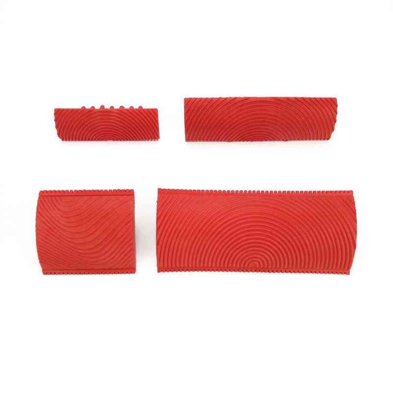 2pcs- Rubber Wall Texture Roller- Imitation Wood Grain, Pattern Paint Design Brush