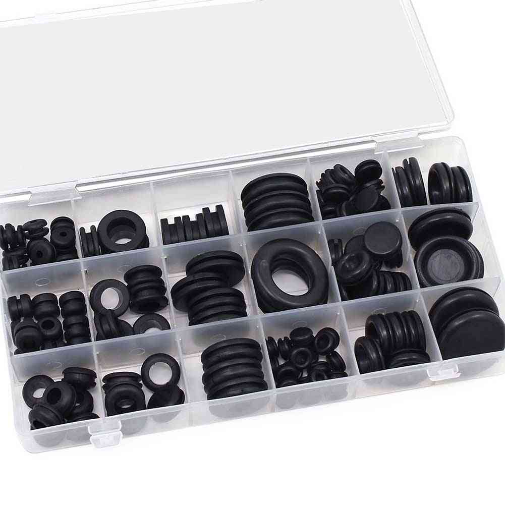 125pcs Waterproof Protect Wire Tool 18 Sizes Set Sealing Rubber Cables Grommet Kit