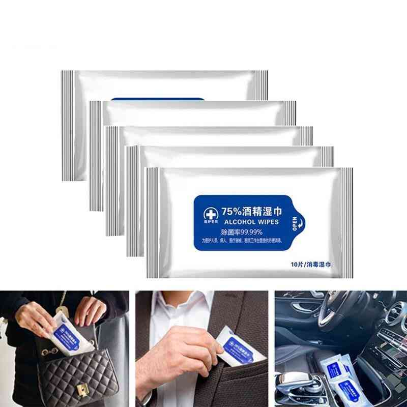 Portable Alcohol Swabs Pads, Disposable Hand Cleaning Disinfection Wet Wipes
