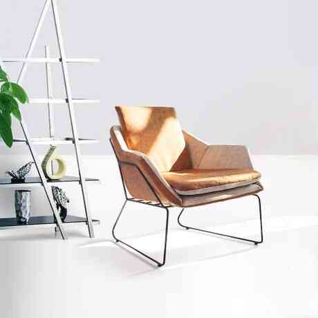Office Commercial Furniture Iron Frame+leather/linen One Seat Sofa Chair