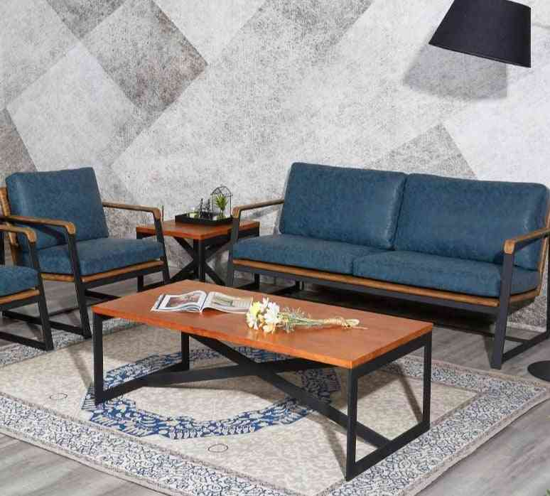 High Density Fashion Antique Office Sofa Wood Coffee Table Set