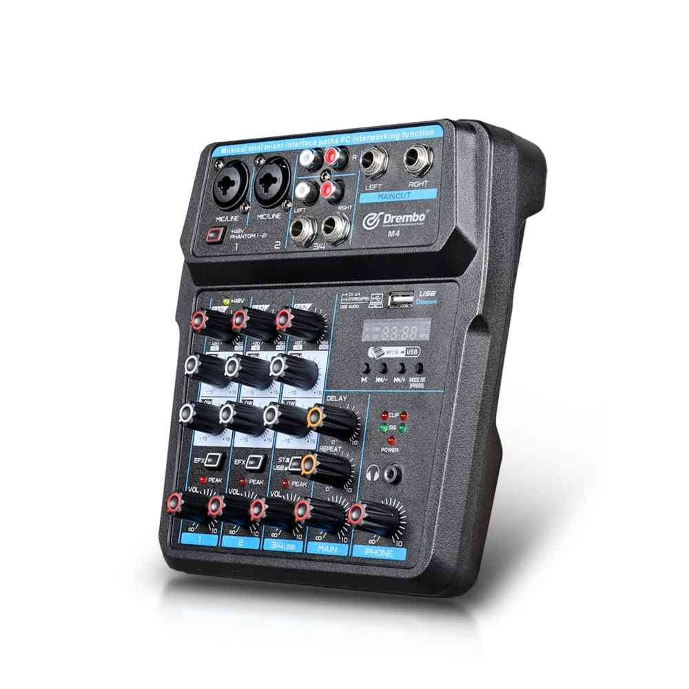 Protable Mini Mixer Audio Dj Console With Sound Card