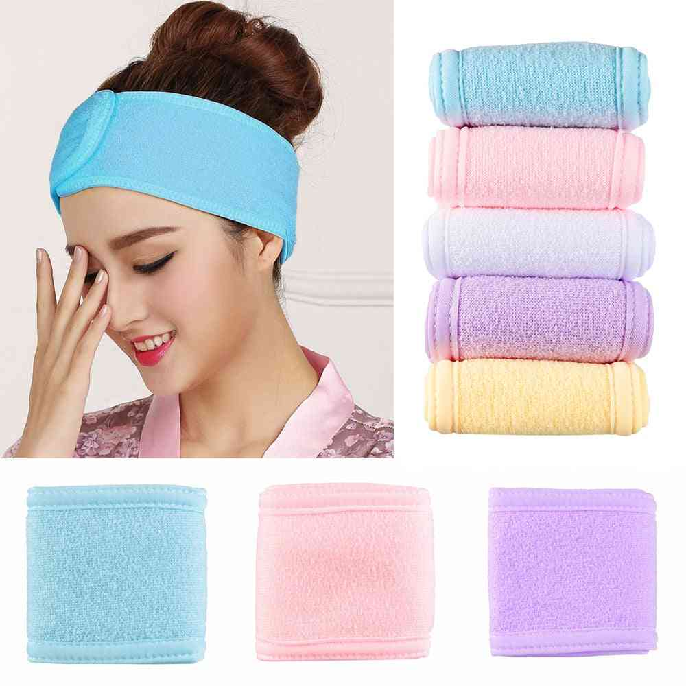 Adjustable Wide Hairband, Makeup Head Band, Toweling Hair Wrap, Shower Cap, Stretch Salon Spa Facial Make Up Accessories