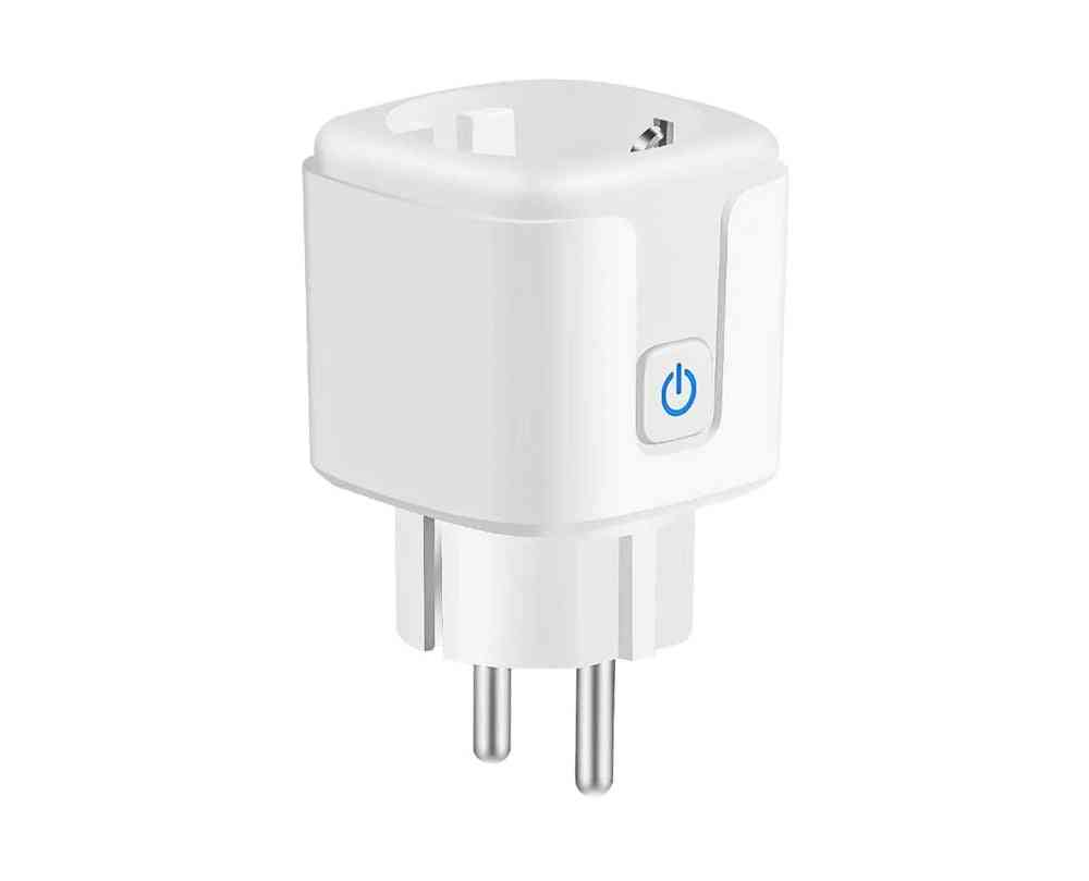 16a Eu Standard Wifi Smart Plug With Power Monitor, Smart Life App Remote Smart Socket Works For Google Home, Alexa