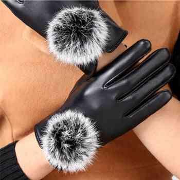 Mijia Fashion Female Leather Gloves Woman Warm Rabbit Fur Driving