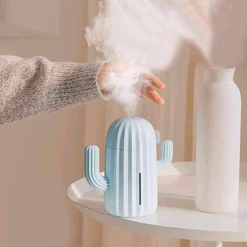 340ml Air Humidifier Romantic Led Cactus Soft Silicone Usb Aroma Diffuser