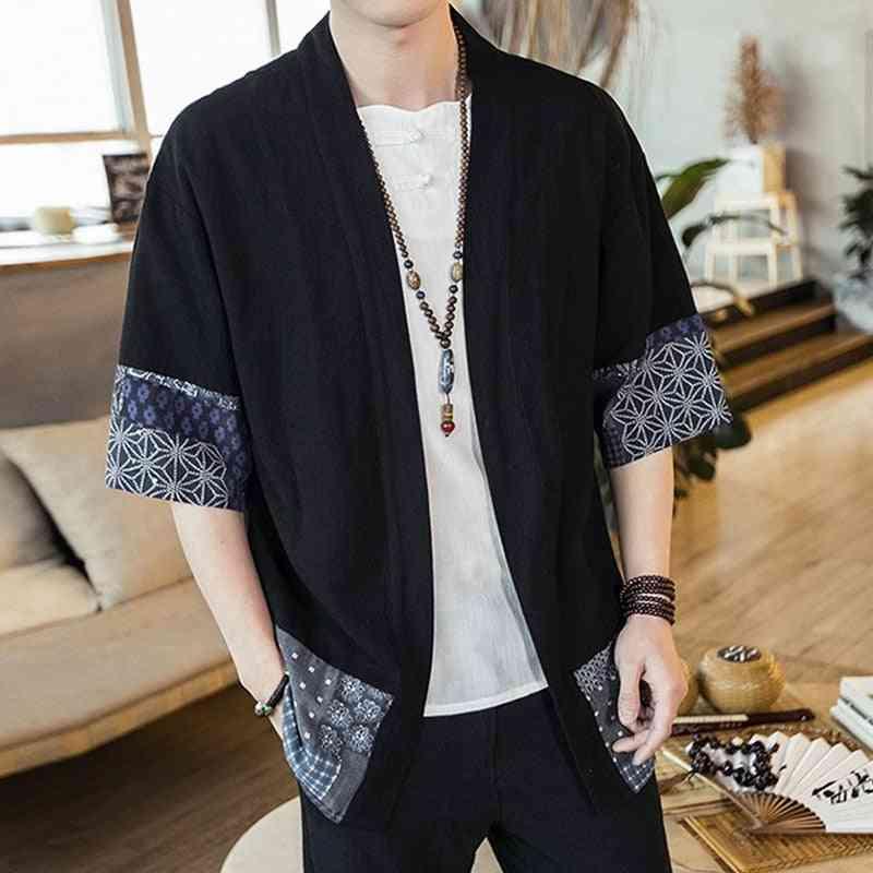 Streetwear Yukata Male Haori Mens Kimono Shirt, 4xl 5xl