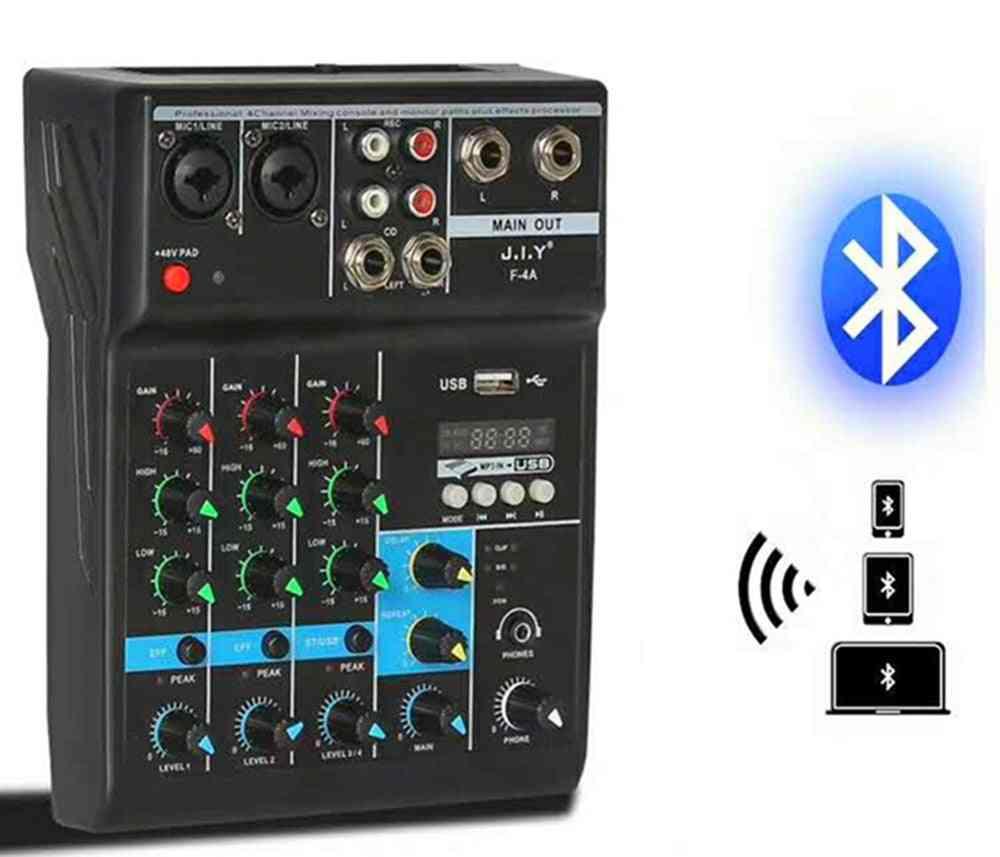 Portable Audio Mixer With Usb Bluetooth Dj Sound Mixing Mp3 Jack 4 Channel Karaoke