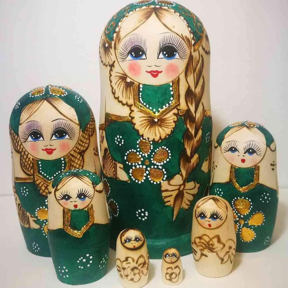 7pcs Braided Hair Girl Wooden Russian Nesting Doll