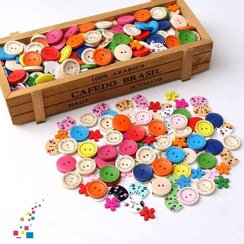 Wooden Button- Craft Beads Charm, Decoration