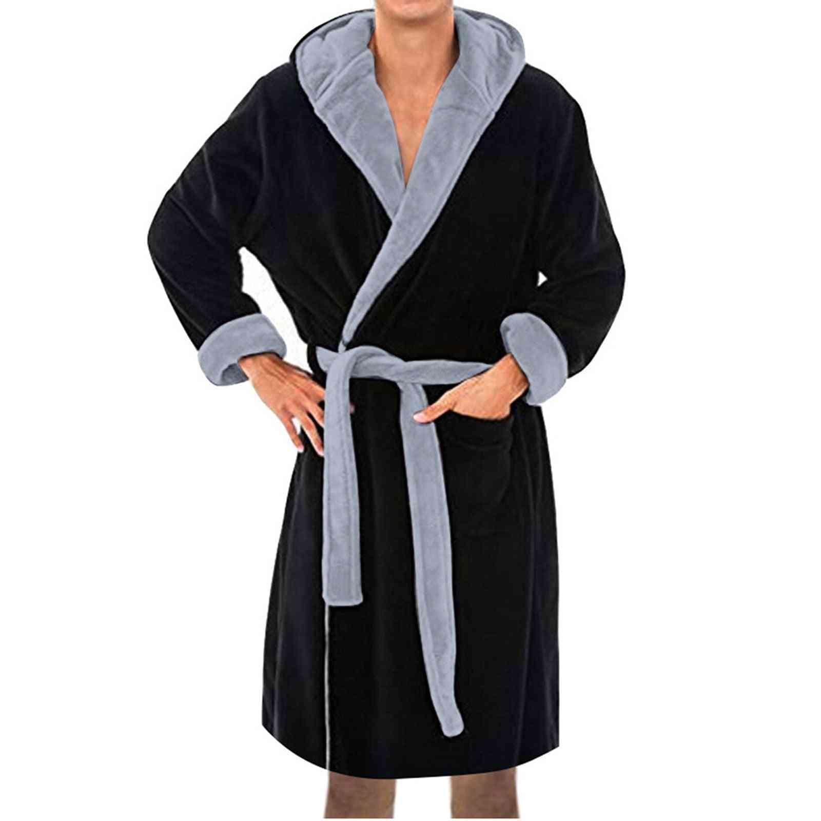Winter- Plush Lengthened Shawl, Long-sleeved Coat, Bathrobe