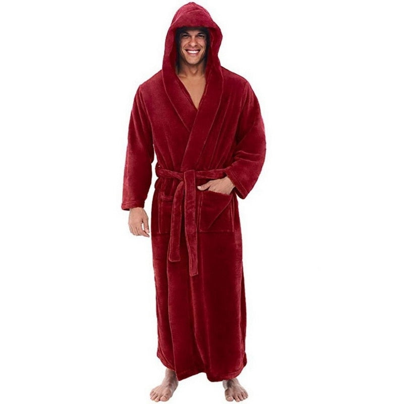 Flannel Male With Hooded, Thick Warm Gown Robe, Bathrobe Extra Long Kimono, Pajamas