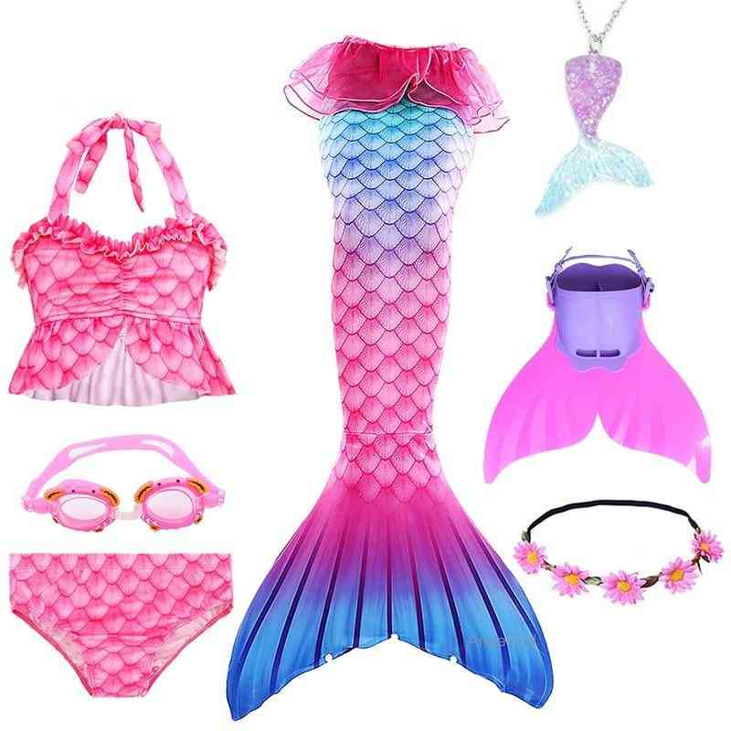 Swimmable Mermaid, Tail Princess Dress With Monofin Holiday, Costume Swimsuit