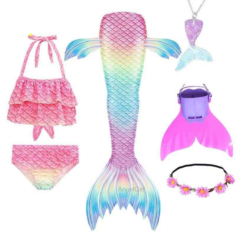 Swimmable Mermaid Tail Princess Dress With Monofin Costume