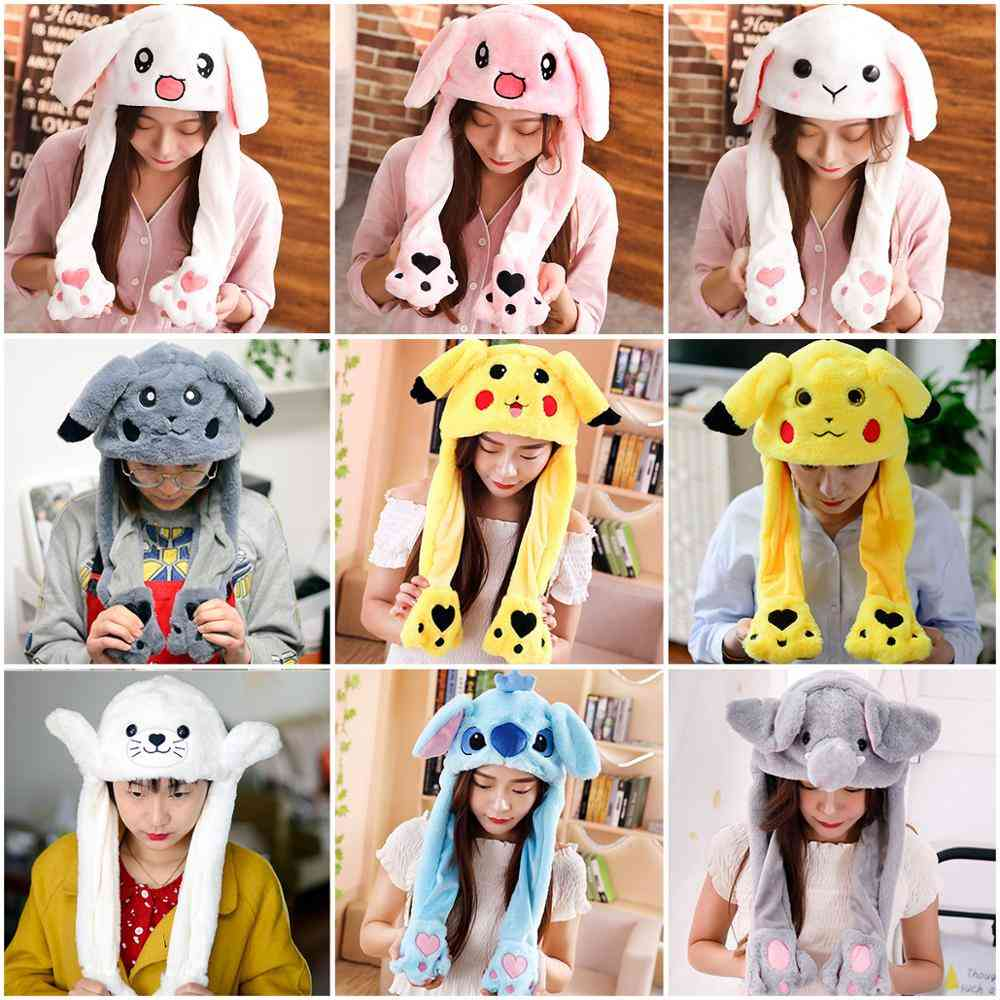 Cute Rabbit Moving Ears Airbag Hat, Soft Jumping Cap