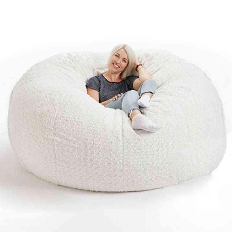 Soft Fluffy Wool Fur Beanbag Large Cashmere Fleece Living Room Lazy Sofa Party Festival Floor Seat