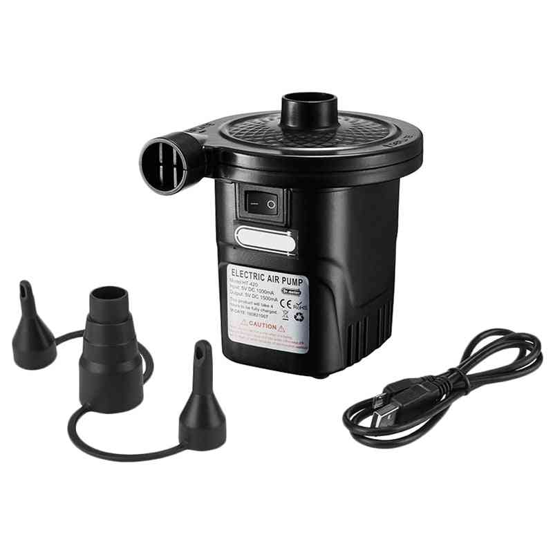 Portable Rechargeable Usb Electric Air Pump, Quick-fill Inflator With 3 Nozzles