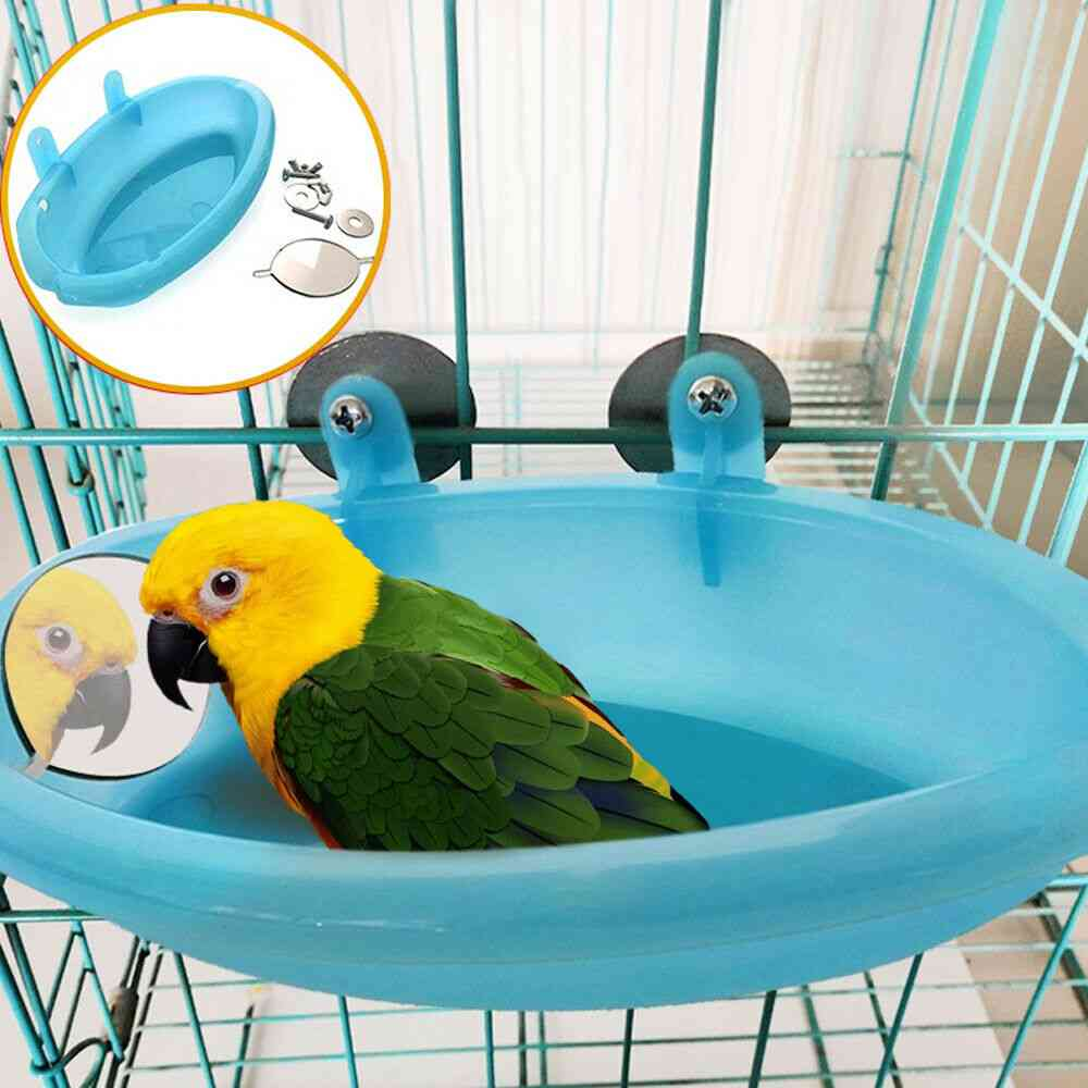Bird Water Bath Tub For Pet Parrot Cage Hanging Bowl