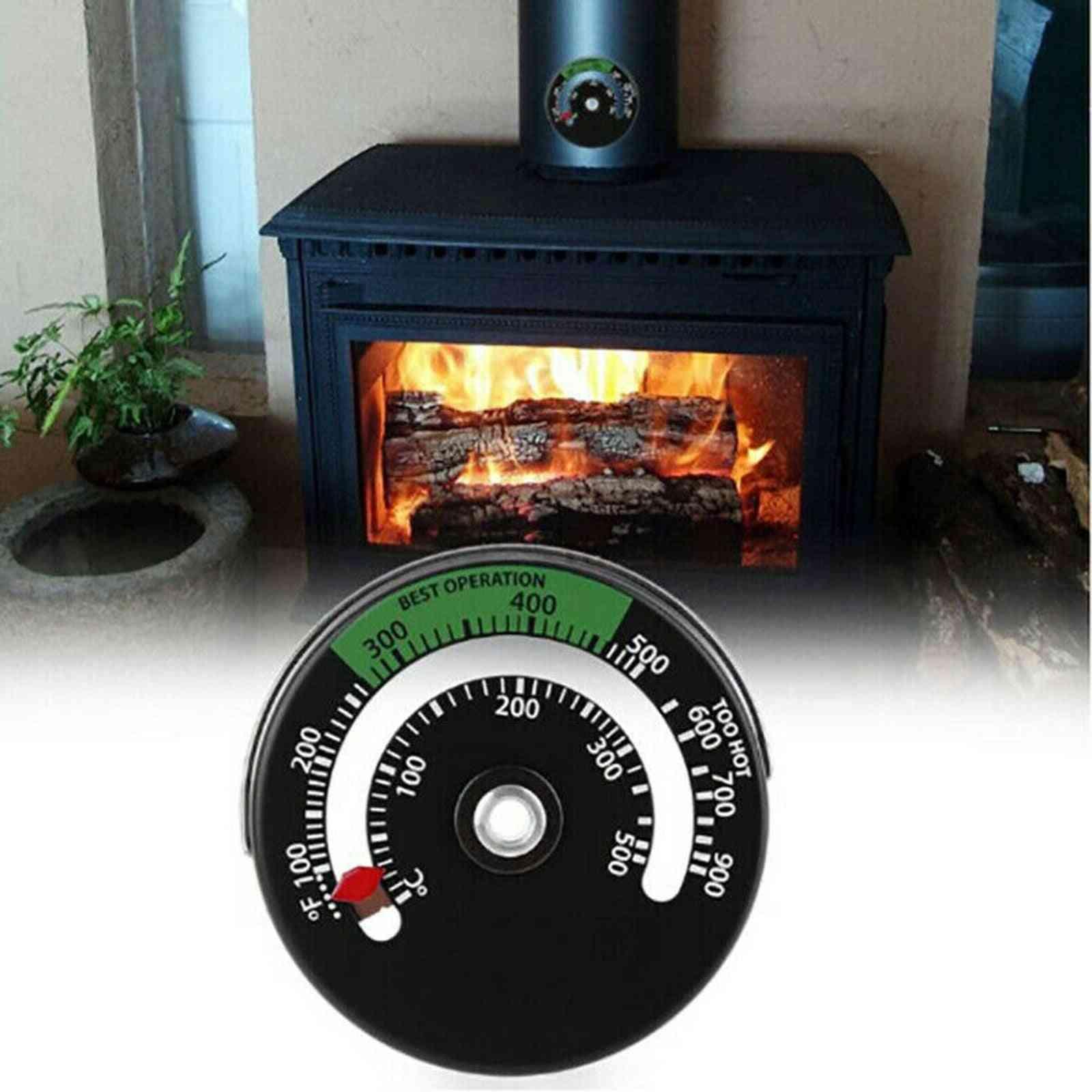 Magnetic Woodstove Pipe Thermometer Fireplace Flue Burner Heat Temperature Gauge Multi Fuel (black)